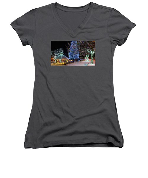 Women's V-Neck T-Shirt (Junior Cut) featuring the photograph Christmas In Leavenworth by Dan Mihai