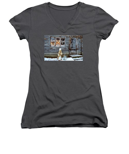 christmas in Scandinavia Women's V-Neck (Athletic Fit)