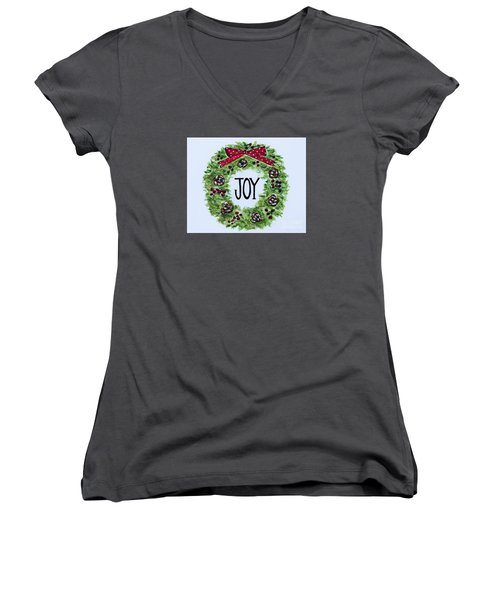 Women's V-Neck T-Shirt (Junior Cut) featuring the painting Christmas Joy by Elizabeth Robinette Tyndall