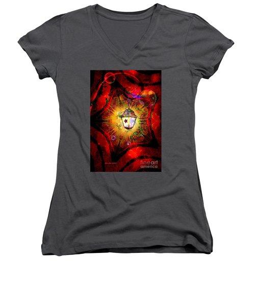 Christmas Lantern And Christmas Star Women's V-Neck T-Shirt (Junior Cut) by Annie Zeno
