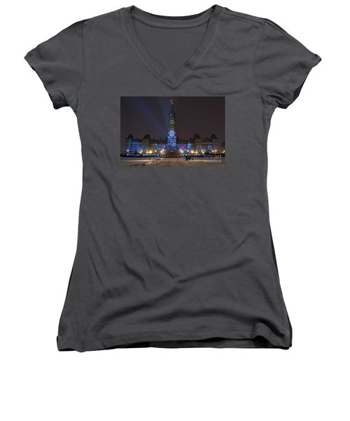 Women's V-Neck T-Shirt (Junior Cut) featuring the photograph Christmas Lights Across Canada.. by Nina Stavlund