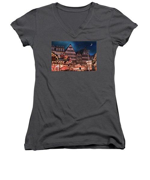 Women's V-Neck T-Shirt (Junior Cut) featuring the photograph Christmas Market by Juli Scalzi