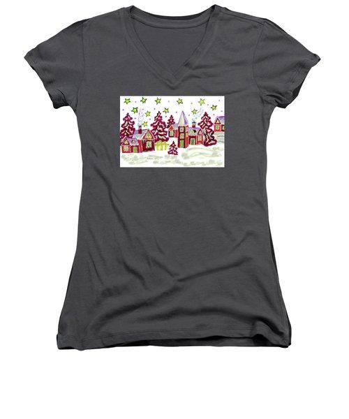 Christmas Picture In Red Women's V-Neck T-Shirt (Junior Cut) by Irina Afonskaya