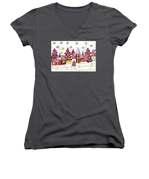 Christmas Picture In Red Women's V-Neck T-Shirt