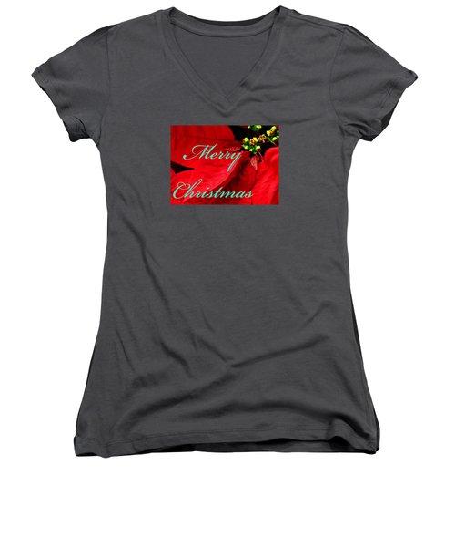 Christmas Poinsettia  Women's V-Neck T-Shirt