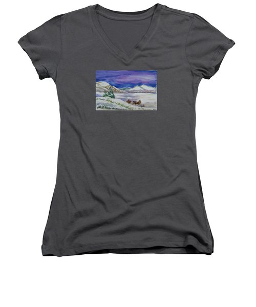 Women's V-Neck T-Shirt (Junior Cut) featuring the painting Christmas Sleigh by Dawn Senior-Trask
