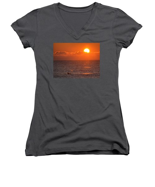 Women's V-Neck T-Shirt (Junior Cut) featuring the photograph Christmas Sunrise On The Atlantic Ocean by Sumoflam Photography