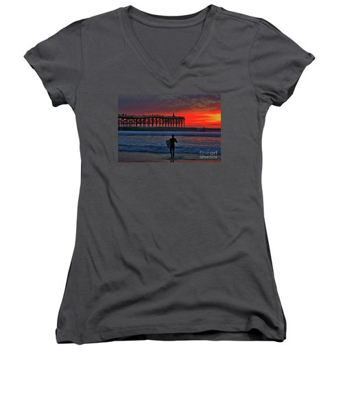 Christmas Surfer Sunset Women's V-Neck
