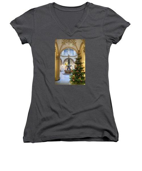 Christmas Tree In Ferstel Passage Vienna Women's V-Neck T-Shirt