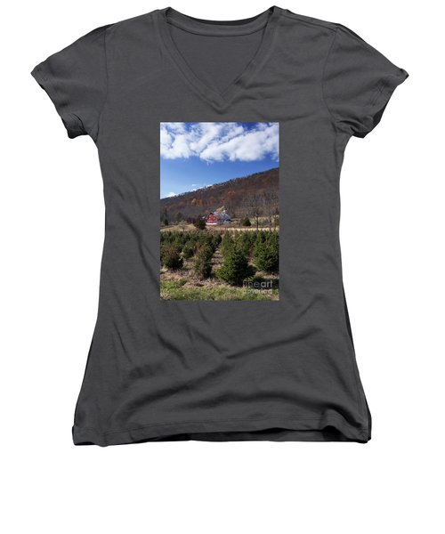 Christmas Tree Shopping Women's V-Neck T-Shirt (Junior Cut) by Nicki McManus