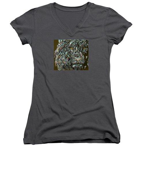 Women's V-Neck T-Shirt (Junior Cut) featuring the digital art Chrome Lion by Darren Cannell