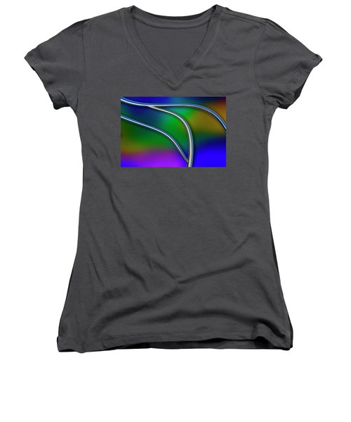 Women's V-Neck T-Shirt (Junior Cut) featuring the photograph Chrome by Paul Wear