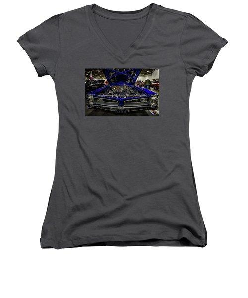 Chromed Goat Women's V-Neck T-Shirt (Junior Cut) by Randy Scherkenbach