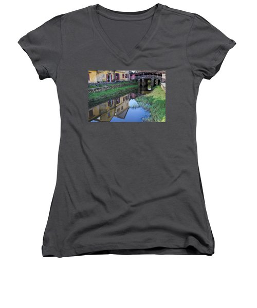 Women's V-Neck T-Shirt (Junior Cut) featuring the photograph Chua Cau Reflection by Hitendra SINKAR