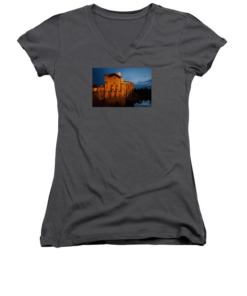 Women's V-Neck T-Shirt (Junior Cut) featuring the photograph Church 1 by Jean Bernard Roussilhe