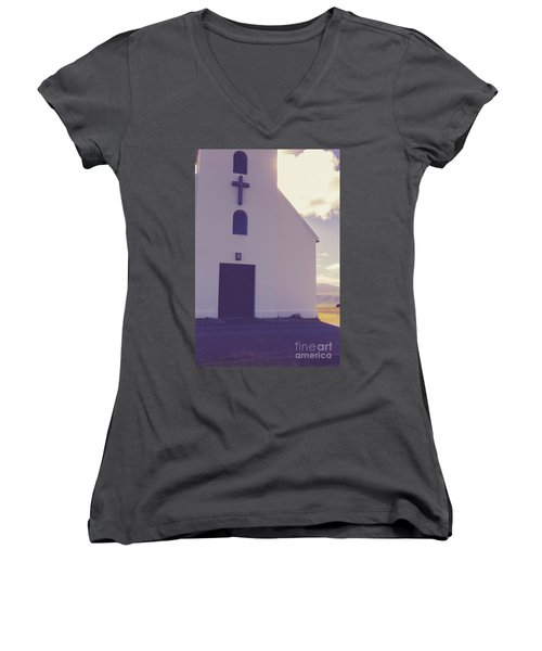 Women's V-Neck T-Shirt featuring the photograph Church Iceland by Edward Fielding