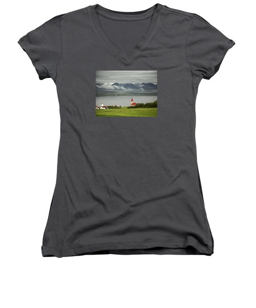 Church In Akureyri Women's V-Neck (Athletic Fit)