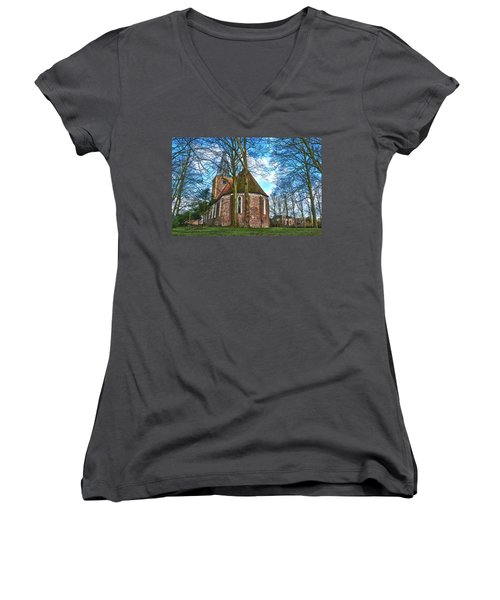 Church In Winsum Women's V-Neck T-Shirt