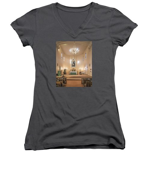 Church Of The Assumption Of The Blessed Virgin Altar Women's V-Neck T-Shirt (Junior Cut) by Andy Crawford