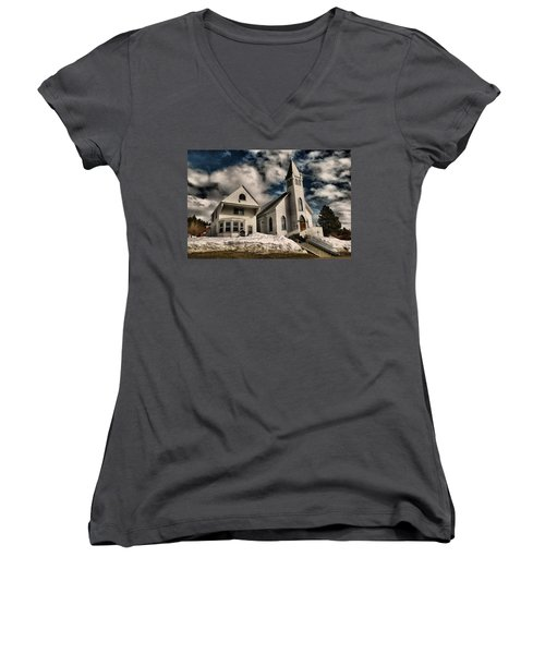 Women's V-Neck T-Shirt (Junior Cut) featuring the photograph Church Of The Immaculate Conception Roslyn Wa by Jeff Swan