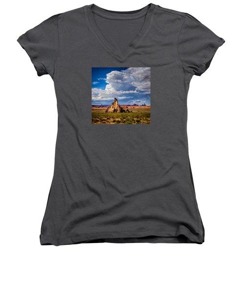 Women's V-Neck featuring the photograph Church Rock Thunderhead by Rikk Flohr