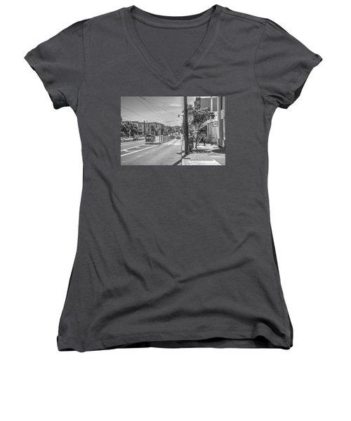 Church St At Market St San Francisco Women's V-Neck T-Shirt