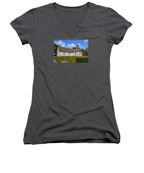 Women's V-Neck T-Shirt (Junior Cut) featuring the photograph Church Teda Sw by Leif Sohlman