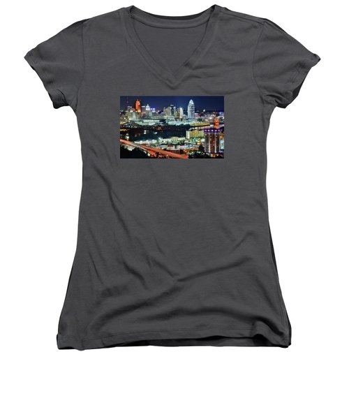 Cincinnati And Covington Collide Women's V-Neck (Athletic Fit)