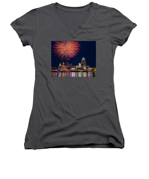 Cincinnati Fireworks Women's V-Neck T-Shirt (Junior Cut) by Scott Meyer