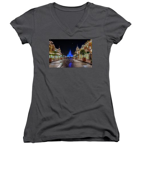 Cinderella Castle Glow Over Main Street Usa Women's V-Neck T-Shirt