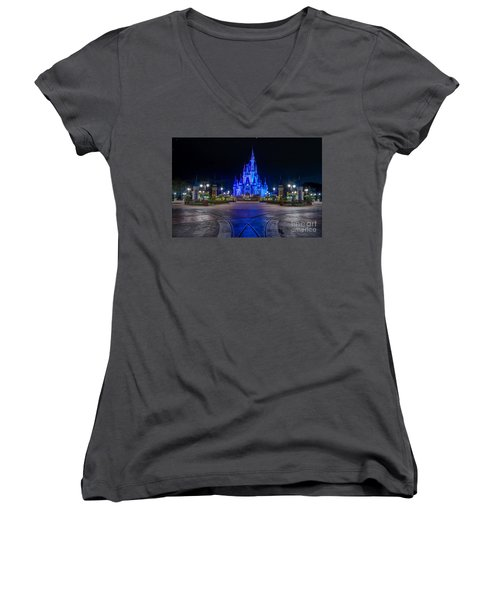 Cinderellas Castle Glow Women's V-Neck T-Shirt