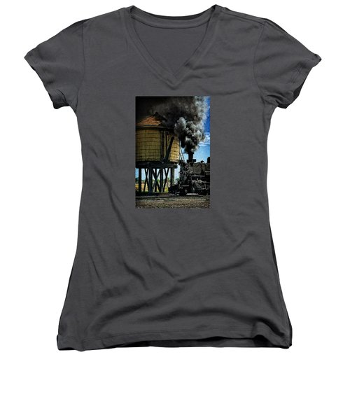 Women's V-Neck T-Shirt (Junior Cut) featuring the photograph Cinders And Water by Ken Smith