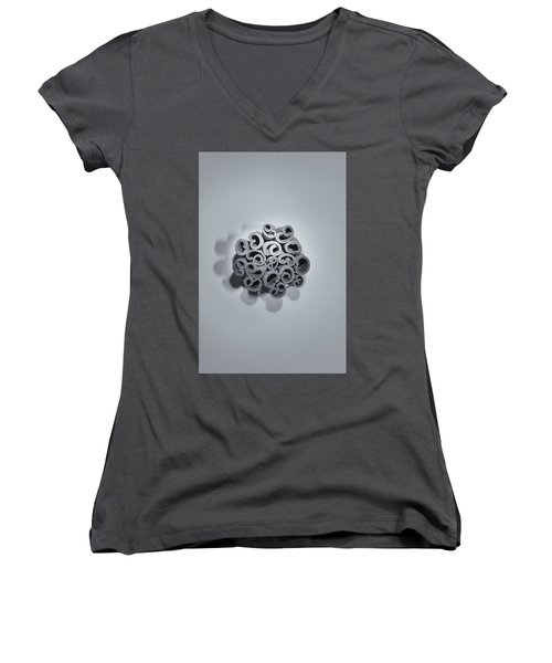 Women's V-Neck T-Shirt featuring the photograph Cinnamon Brain by Lora Lee Chapman