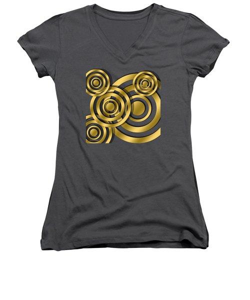 Circles - Chuck Staley Design Women's V-Neck T-Shirt (Junior Cut) by Chuck Staley