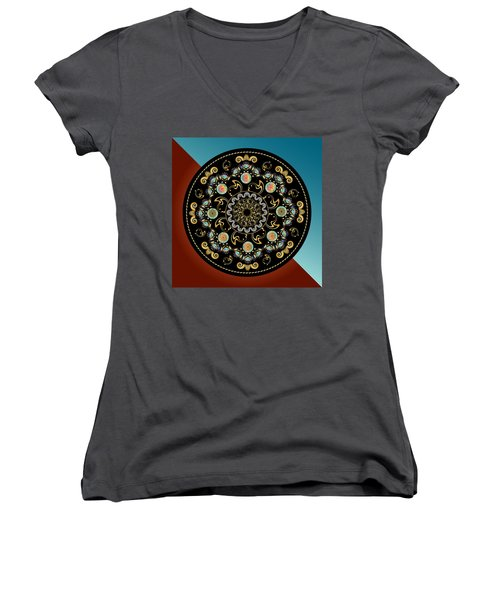 Circularium No 2640 Women's V-Neck T-Shirt (Junior Cut) by Alan Bennington