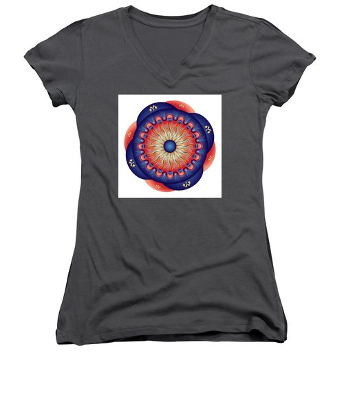Women's V-Neck T-Shirt (Junior Cut) featuring the digital art Circularium No 2655 by Alan Bennington