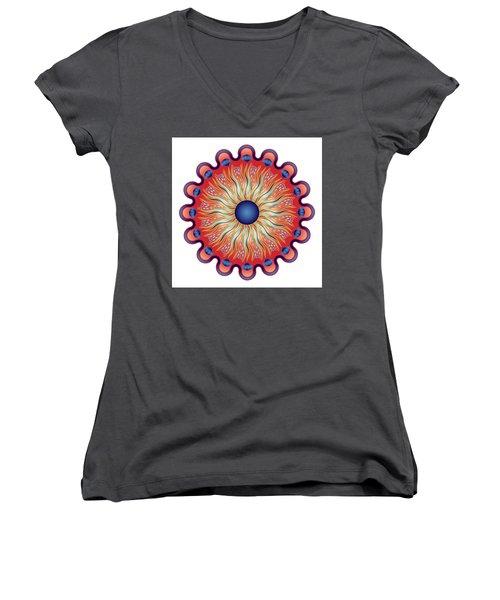 Women's V-Neck T-Shirt (Junior Cut) featuring the digital art Circularium No 2664 by Alan Bennington