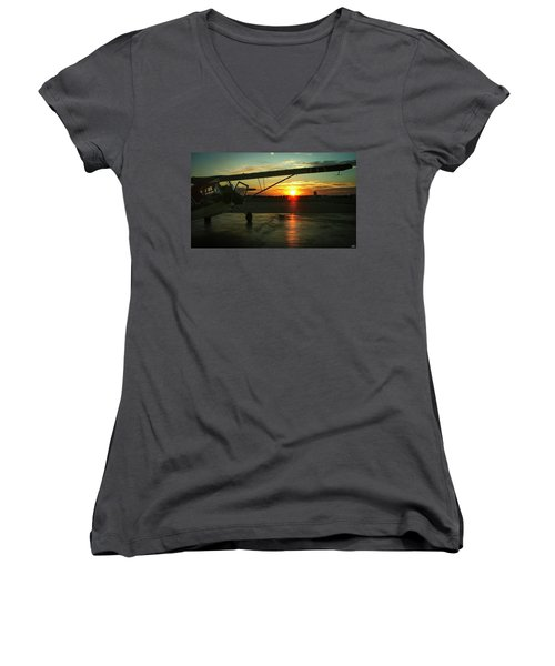 Citabria Peeking Out Of The Hangar Door Women's V-Neck (Athletic Fit)