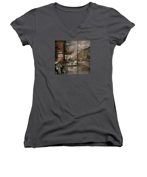 City - Amsterdam Ny -  Call 666 For Taxi 1941 Women's V-Neck T-Shirt (Junior Cut) by Mike Savad