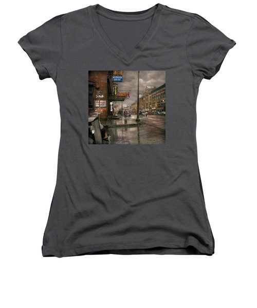 City - Amsterdam Ny -  Call 666 For Taxi 1941 Women's V-Neck