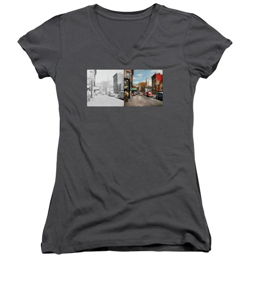 Women's V-Neck T-Shirt (Junior Cut) featuring the photograph City - Amsterdam Ny - Downtown Amsterdam 1941- Side By Side by Mike Savad