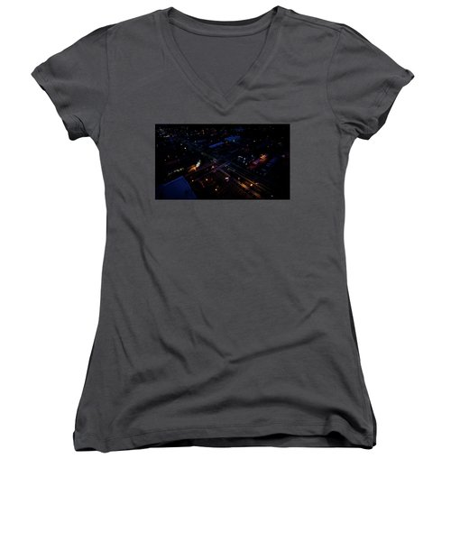 City At Night From Above Women's V-Neck (Athletic Fit)