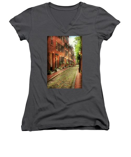 Women's V-Neck T-Shirt (Junior Cut) featuring the photograph City - Boston Ma - Acorn Street by Mike Savad