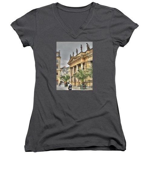 Karlovy Vary Chehia Women's V-Neck T-Shirt (Junior Cut) by Yury Bashkin