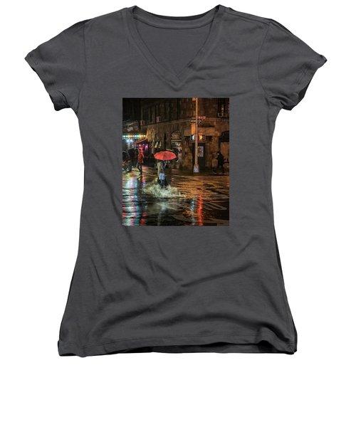 City Colors Women's V-Neck T-Shirt (Junior Cut) by Jeffrey Friedkin