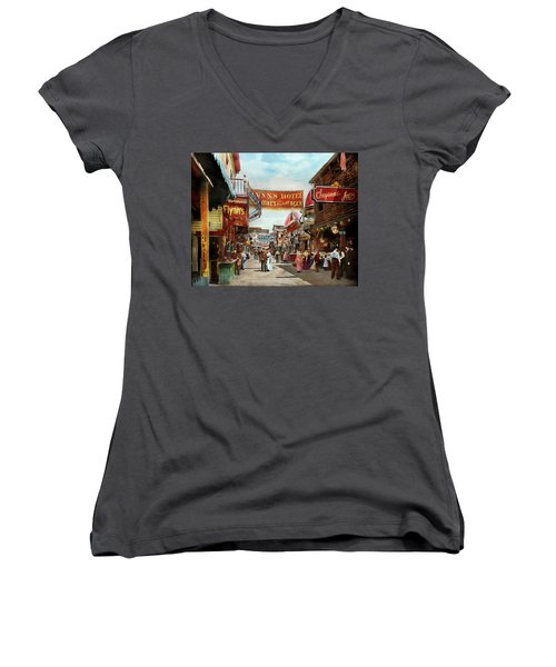 Women's V-Neck T-Shirt (Junior Cut) featuring the photograph City - Coney Island Ny - Bowery Beer 1903 by Mike Savad