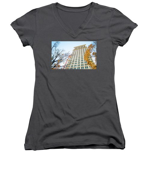 Women's V-Neck T-Shirt (Junior Cut) featuring the photograph City Federal Building In Autumn - Birmingham, Alabama by Shelby Young