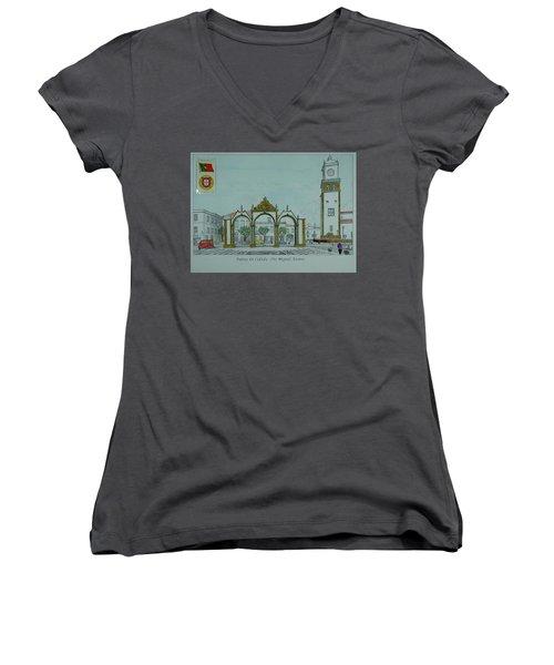 City Gates, San Miguel,azores Women's V-Neck T-Shirt
