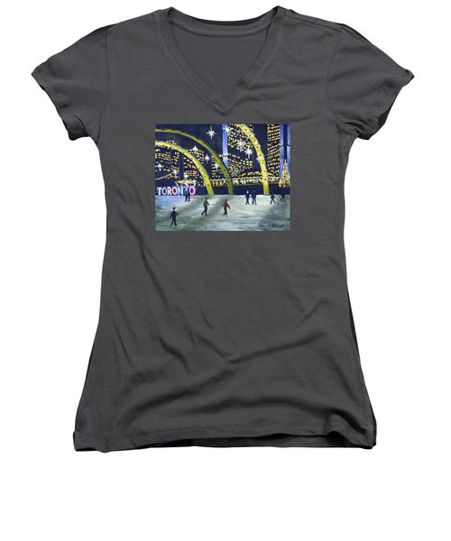 City Hall Christmas Women's V-Neck T-Shirt (Junior Cut) by Diane Arlitt