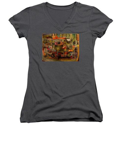 Evening Out Women's V-Neck T-Shirt (Junior Cut) by Nancy Kane Chapman